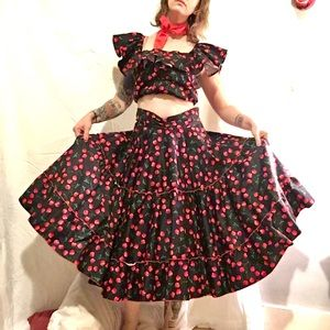 Bettie Page cherry print skirt & top